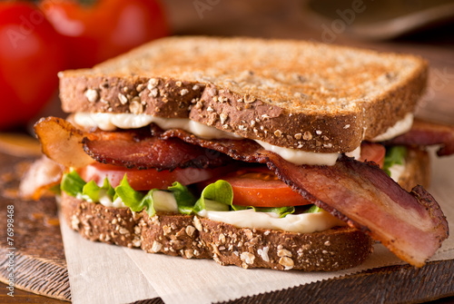 Fotobehang Snack Bacon, Lettuce, and Tomato BLT Sandwich