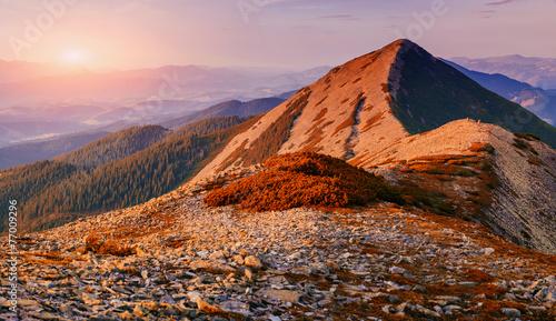 Foto op Aluminium Oranje eclat Fantastic sunset in the mountains of Ukraine. Beauty world.