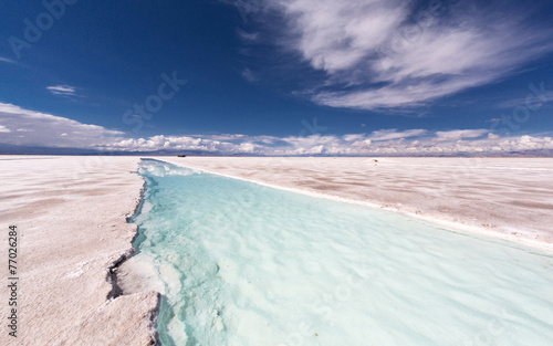 Poster Bleu nuit Salinas Grandes. Salt production