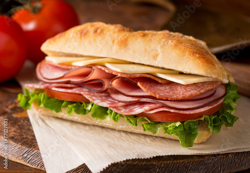 Staande foto Snack Cold Cuts Sandwich