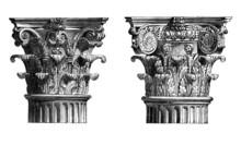 Victorian Engraving Of Corinthian Column Capitals
