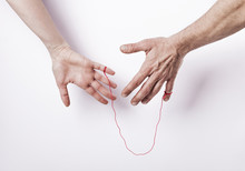 Woman And Man With Red String Of Fate