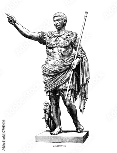 Photo Victorian engraving of a sculpture of Augustus Caesar