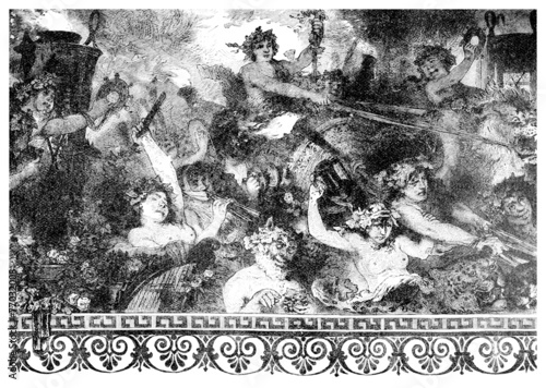 Victorian engraving of a  wall painting of a bacchanalian feast Canvas Print