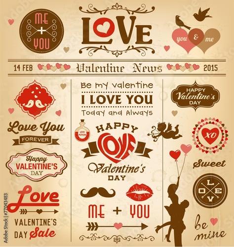 Fotografie, Obraz  Valentine's day newspaper design elements collection