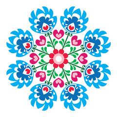 Obraz na SzklePolish round folk art pattern - Wzory Lowickie, Wycinanka