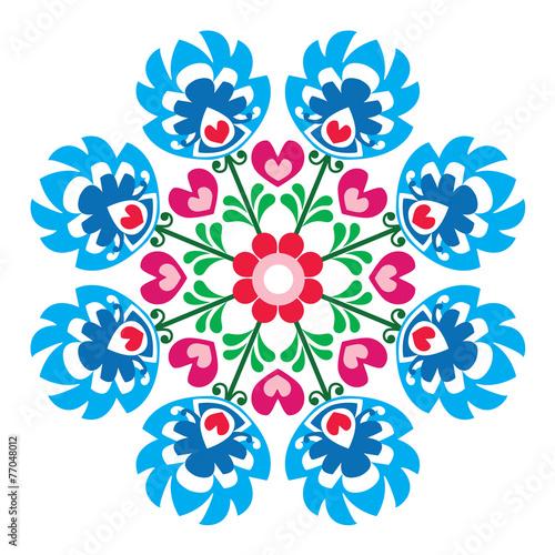 Polish round folk art pattern - Wzory Lowickie, Wycinanka - 77048012