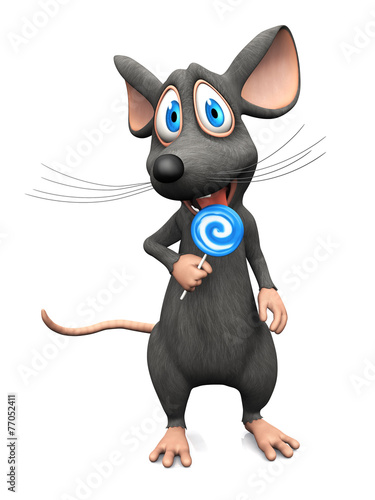 Fototapety, obrazy: Smiling cartoon mouse licking a lollipop.