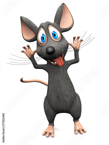 Fototapety, obrazy: Smiling cartoon mouse doing a silly face.
