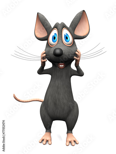 Fototapety, obrazy: Cartoon mouse looking very shocked.