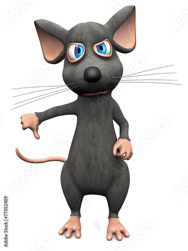 Fototapety, obrazy: Cartoon mouse doing a thumbs down.