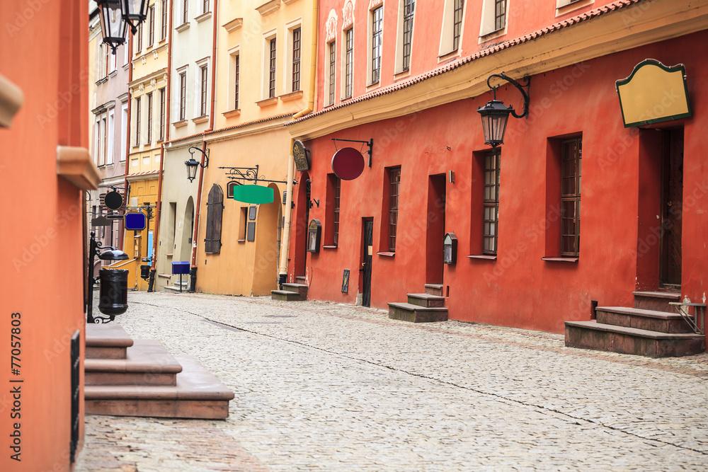 Fototapety, obrazy: Centrum Lublina, kolorowa uliczka