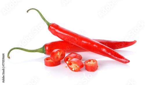 Staande foto Hot chili peppers red chili peppers isolated on white background