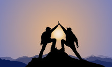 Silhouette Of 2 Men,mountain Top ,sunset