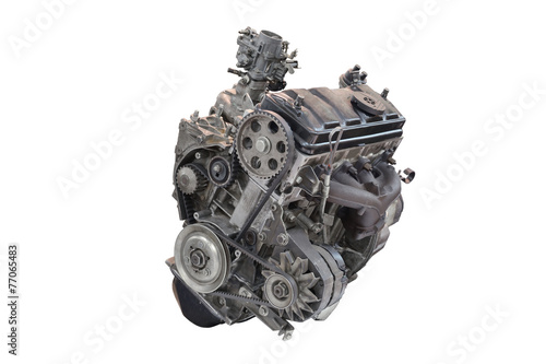 Car engine isolated on white background Poster