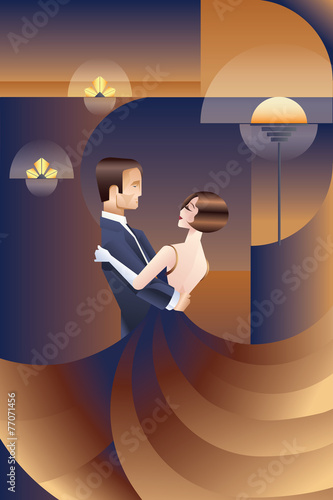 Photographie  Dancing couple Art Deco geometric style poster