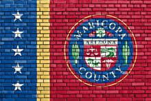 Flag Of Maricopa County Painted On Brick Wall