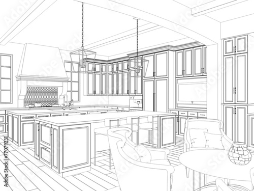 3d Sketch Of Kitchen Interior With Dining Area Buy This Stock