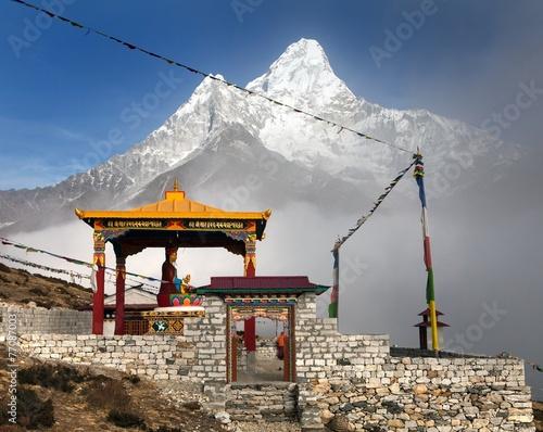Wall Murals Nepal buddha in Pangboche monastery and mount Ama Dablam