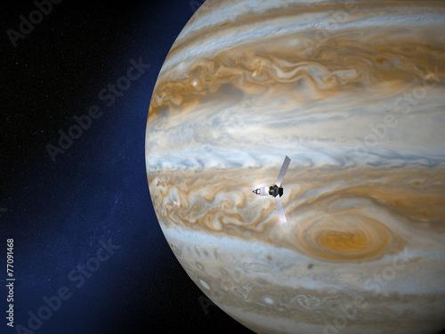 Fotografia  Giove e sonda spaziale Juno