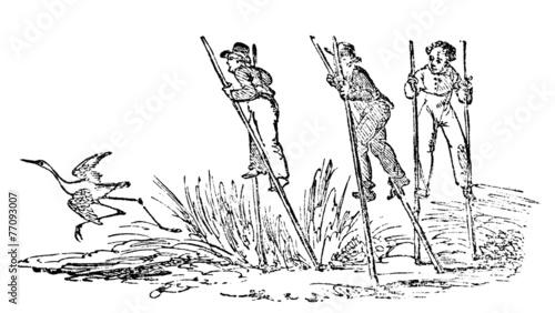 Fényképezés  19th century engraving of men on stilts