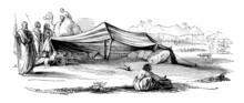 Victorian Engraving Of An Arab Caravan Camp In The Sahara