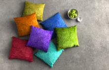 Farbige Kissen Auf Steinboden