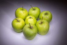 Lucky Seven Green Apples Painted With Light