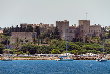 Old City Of Rhodes Island, View From The Sea