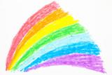 Fototapeta Tęcza - Child's rainbow crayon drawing