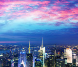 Stunning Manhattan skyline after sunset, NYC - 77115674