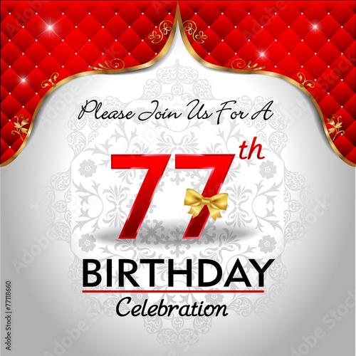 Fotografie, Obraz  celebrating 77 years birthday, Golden red royal background