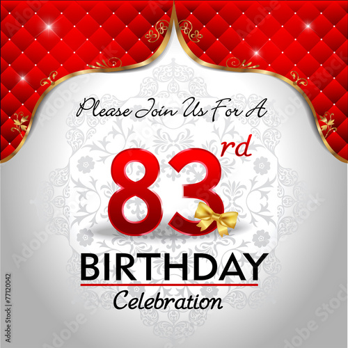 Poster  celebrating 83 years birthday, Golden red royal background