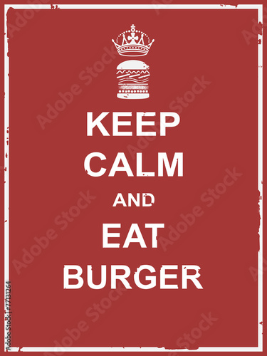Keep calm and eat burger Canvas Print