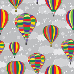 Balloons on the background of the autumn sky. Design for textile