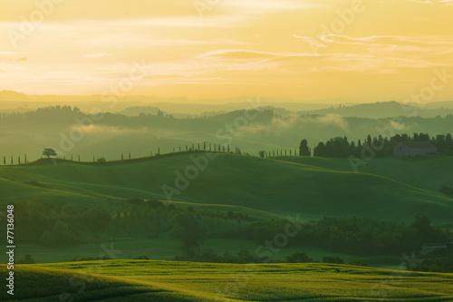 Fototapeta Beautiful rural landscape of Tuscany early in morning  obraz na płótnie