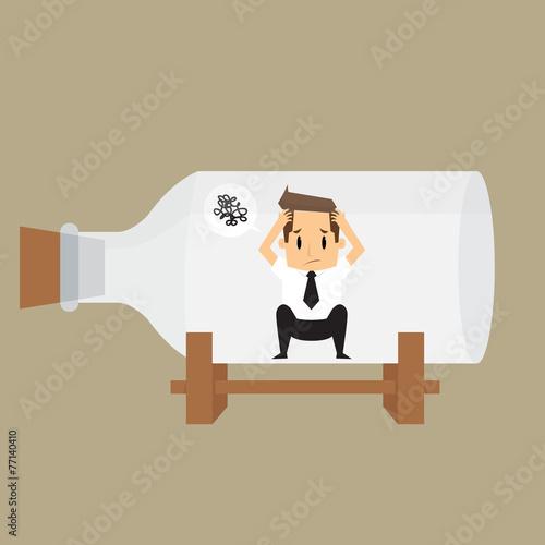 Fotografie, Obraz  businessman impound in bottle