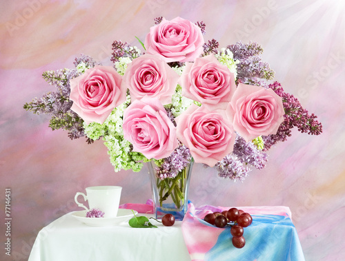 Still life with lilac and roses bunch - 77146431