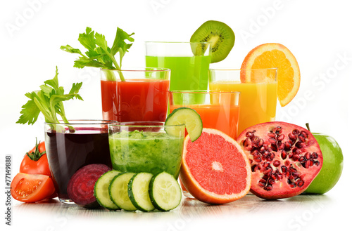 Staande foto Sap Glasses with fresh organic vegetable and fruit juices on white