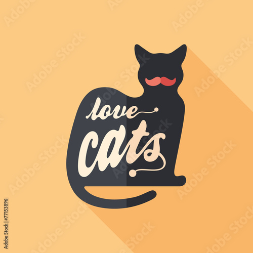 Spoed Fotobehang Halloween Love cats flat square icon with long shadows.
