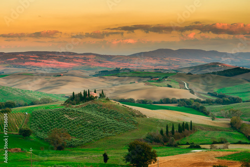 Sunset in Tuscany Field, Italy Wallpaper Mural