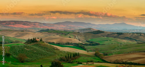 Sunset in Tuscany Field, Italy Canvas Print