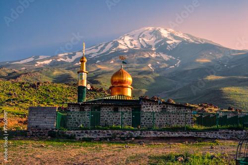 Fotografie, Obraz  Mosque below Damavand