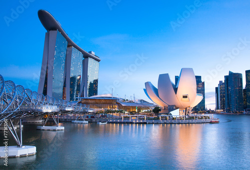 Marina Bay area at night, Singapore. Wallpaper Mural