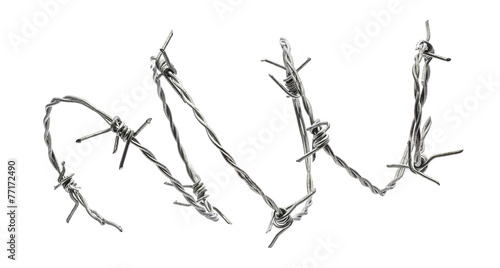 Vászonkép Barbed wire isolated on a white background