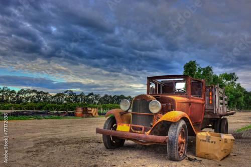 Valokuva  Abandoned vintage flatbed truck