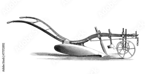 Photo  Victorian engraving of a plough