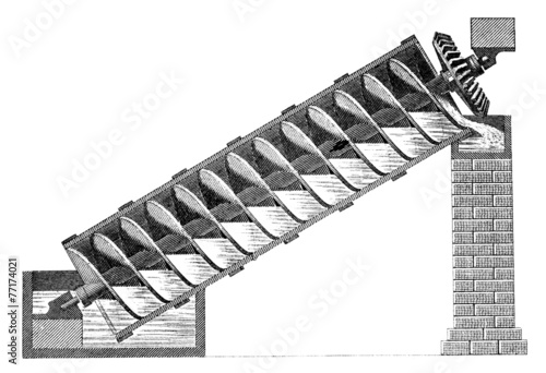19th century engraving of Archimedes' screw water transport Canvas Print