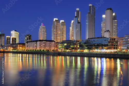 Spoed Foto op Canvas Buenos Aires Night view at the waterfront in Puerto Madero, Buenos Aires