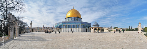 Panorama of Temple Mount with Dome of the Rock Mosque, Jerusalem